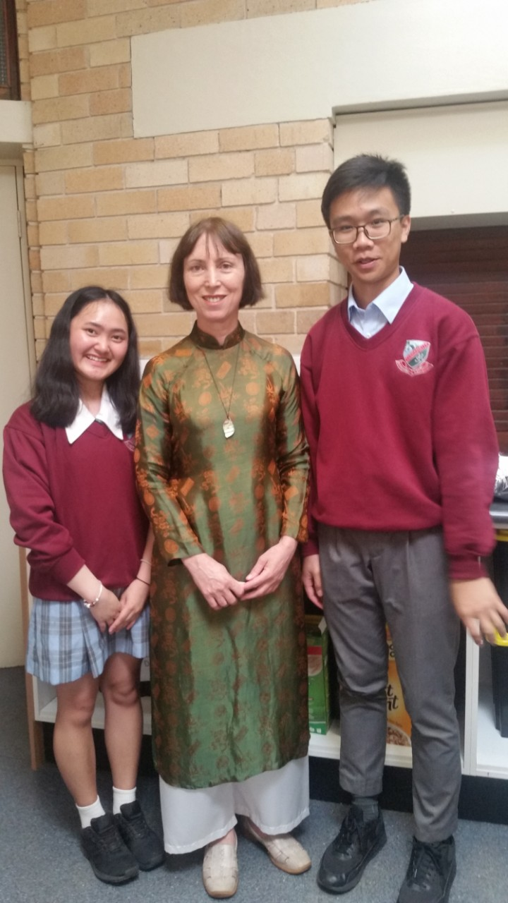 Keothida Sayaseng Yr12, Mrs L Nguyen International Student Coordinator and Duc Hung TRAN Yr12.